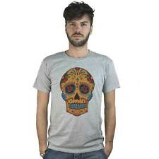 T-shirt Mexican Skull with crucifix, T-shirt grey style Tattoo Rock