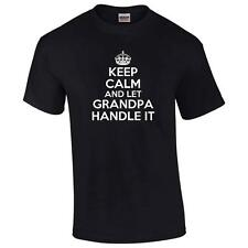 Keep Calm And Let Grandpa Handle It T-Shirt Funny Grandfather PaPa Mens Tee