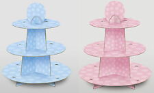 3 TIER DISPOSABLE CARDBOARD CUP CAKE STANDS - PACK OF 4 - CHOICE OF DESIGNS
