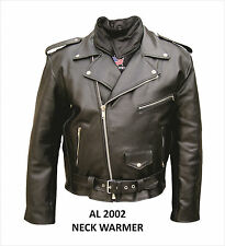 Mens Motorcycle Jacket Split Cowhide Leather zip out lining neck warmer Allstate