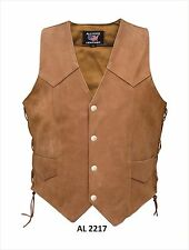Men's Brown Side Laced Motorcycle Vest in Buffalo Leather by Allstate Leather