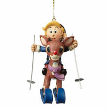 Jim Shore Rudolph The Red Nosed Reindeer Skiing Hermey Hanging Ornament 4053076
