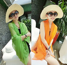Wrap Dress Chiffon Pareo Cover Up Bikini Sarong Beach Scarf Women Swimwear