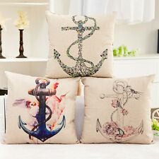 Home Decor Marine Anchor Linen Cushion Cover Pillow Throw Case Sofa Bedroom L