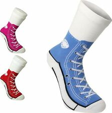 Womens Mens Socks Silly Sneakers Trainer Runners Shoe Design Novelty Cotton