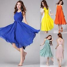 Sexy Women Boho Summer Maxi Dress Casual Chiffon Evening Party Strappy Sundress