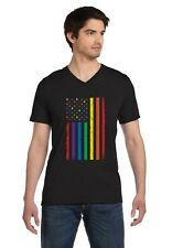 Rainbow American Flag - Gay Lesbian Pride V-Neck T-Shirt USA Flag