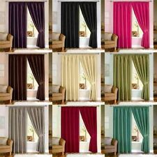 PENCIL PLEAT READY MADE CURTAINS TAPE TOP FAUX SILK FULLY LINED INC. TIE BACKS
