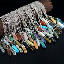 natural gemstone hexagonal pointed beads stone pendant necklace jewelry
