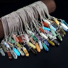 natural crystal gemstone hexagonal pointed beads stone pendant necklace jewelry
