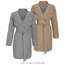 Ladies Womens Microfibre Double Breasted Mac Jacket Trench Tie Belted Coat