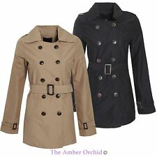 Womens Ladies Double Breasted Buckle Belted Trench Mac Jacket Coat