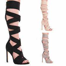 LADIES WOMENS HIGH HEEL PEEP TOE CUT OUT PARTY EVENING FASHION STYLE SHOES