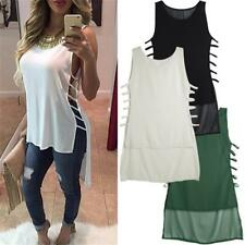 Women's Short In Front Long Chiffon Vest Summer Loose Bandage Sexy Tank Top