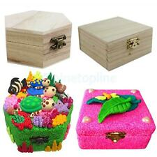 Wood Unfinished Wooden Jewel Box Case for Kid's Girls DIY Craft Woodworking Toy