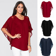 Women Elegant Chiffon Blouse Sheer Top Casual Batwing Short Sleeve Loose T-Shirt