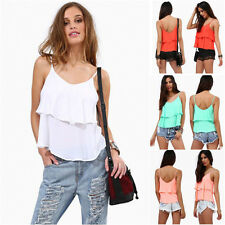 Women's Sexy Summer Solid Sleeveless Loose Tiered Blouse Chiffon T-shirt Top New