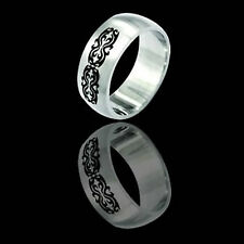 Etched Tribal design Stainless Steel Ring - 3 many sizes fnt