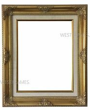 West Frames Antique Gold Wood Picture Frame with Natural Linen Liner 3""