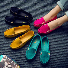 Womens Moccasin Suede Slip On Flat Loafers Ladies Fashion Ballerina Ballet Shoes