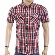 Superdry Mens Washbasket Check Short Sleeve Shirt Miama Red Check (#7616)