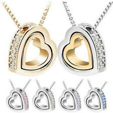 Jewelry Silver Plated Crystal Heart Pendant Fashion Charm Necklace Chain Womens