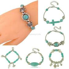 Women Adjustable Vintage Tibetan Silver Beaded Bangle Turquoise Chain Bracelet