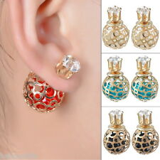 HC Unisex Double Sides Hollow Gold Plated Crystal Ball Ear Studs Earring
