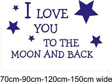 I LOVE YOU TO THE MOON AND BACK Wall Sticker quote Nursery bedroom decal vinyl
