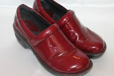 b.o.c. BORN Red Patent PEGGY Cushioned Slip On Work Professional Clog Shoes Sz 7