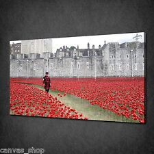 TOWER BRIDGE RED POPPIES REMEMBRANCE DAY CANVAS PRINT ART PICTURE READY TO HANG