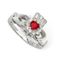 Sterling Silver Cubic Zirconia Ruby Claddagh Ring