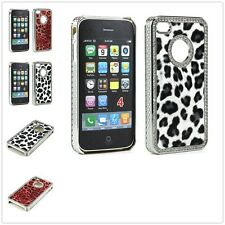 Luxury Crystal Bling Leopard Diamond Chrome Case Cover for Apple iPhone 4 4S 4G