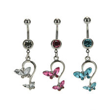 Butterfly Dangle Ball Barbell Bar Belly Button Navel Ring Body Piercing CAHU