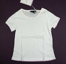 NWT Papo d' ANJO girls white cotton short sleeve shirt with pink trim sz 2y-16y