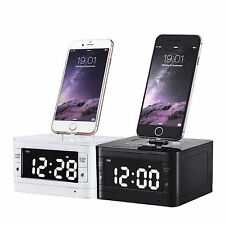 Bluetooth Alarm Clock Speaker Dock FM Radio AUX Audio + Remote Control iPhone 6S