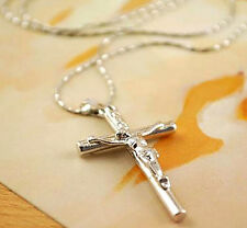 1 Pc Cross Silver Necklace Jesus Christ Crucifix Jewelry Chain Pendant