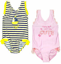 Girls Very Cute Frill Nautical Stripe Swimming Costume Swimsuit 2 to 6 Years