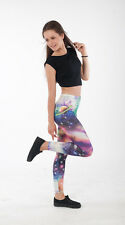 Women Girls  Cosmic Galaxy Space Print Stretch Slim Fit Leggings,  Stretch Pants