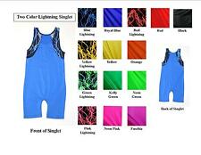 ADULT TANK WRESTLING SINGLET - TWO COLOR SOLIDS WITH LIGHTNING