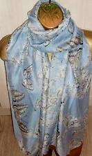Pretty Vintage Style Scarf Floral Damask Butterfly Print - Sarong Pashmina NEW