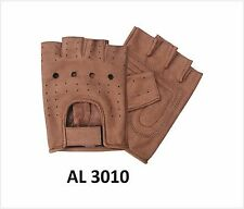 Brown Premium Buffalo Leather Fingerless Motorcycle Gloves Allstate XS-3XL