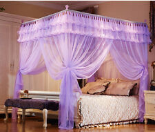 Purple Luxury Lace 4 Post Bedding Curtain Canopy Mosquito Net Twin Queen Size