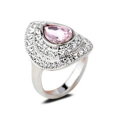 18K White Gold Plated Pink Crystal Women Ring Fashion Jewelry Gift CZ Rhinestone