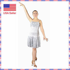 SFC013grey New Ballroom Latin Rhythm Salsa Swing Dance Dress Top Skirt Set