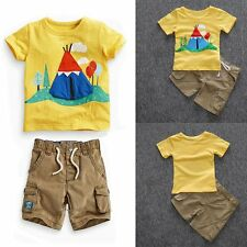 2PCS Toddler Newborn Kids Baby Boys T-shirt Tops+Shorts Pants Clothes Outfit Set