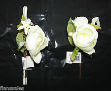 LARGE CORSAGE FOAM ROSE AND  BUTTON HOLE WEDDING CORSAGE IVORY.