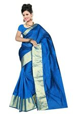 Dodger Blue Indian Art Silk Sari Saree Fabric Bollywood Saree Curtain Veil SARI