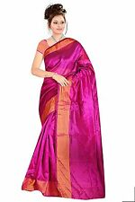 Hot Pink Indian Art Silk Sari Saree Fabric Bollywood Saree Curtain Drape Veil
