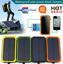 Waterproof Solar Panel Battery Power Bank Dual USB External Portable Charger